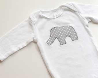 Elephant Onesie;  Grey Elephant Bodysuit for Baby