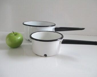 White Enamelware Pots - Pair of Old Farmhouse Enamel Pots w/ Black Trim