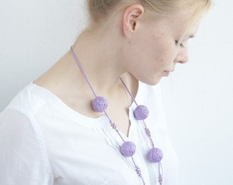 Lilac textile handmade necklace wooden beads natural