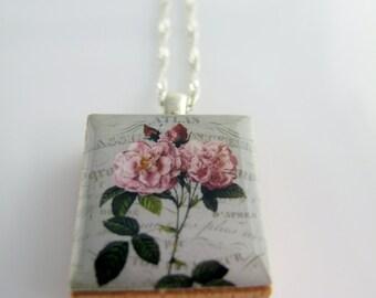 Vintage Rose Flower Pendant - Shabby Chic Rose Pendant - Scrabble Tile Pendant Charm Necklace on Sterling Silver 925, Romantic Pendant