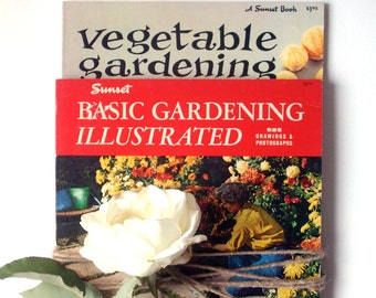 set of two sunset books, vegetable gardening, basic gardening illustrated, gardening books, sunset books