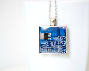 Circuit Board Geekery Necklace, geometric blue necklace, upcycled, computer part jewelry, square