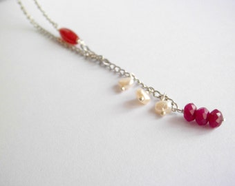 Stone charm necklace / carnelian pearls and jade / chain / crew neck/  raw stone pendant / red pink / romantic gift /collar neckalce
