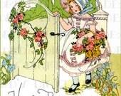 Gorgeous Little Girl At Garden Gate.  Art Deco Digital BIRTHDAY Card. Digital Vintage Illustration. Deco Birthday Card DIGITAL Download