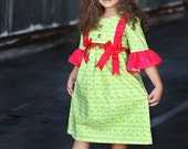 Elegant Twirly Christmas Dress with Bell Sleeves and Ruffles.....Damask and Poinsettas - JustSewStinkinCute