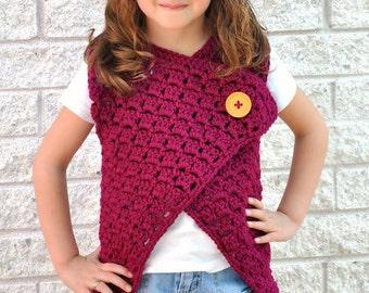 Madison Vest Crochet Pattern PDF Child Size