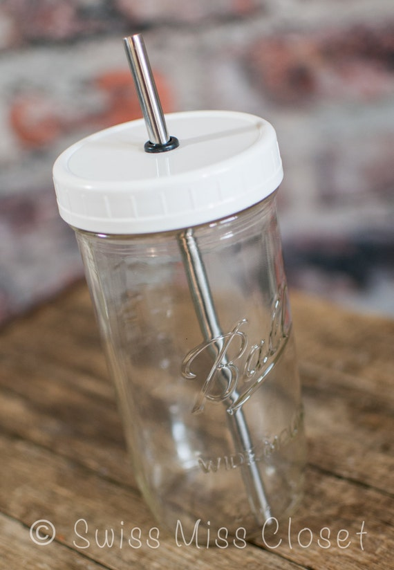 1 One Piece BPA Free Plastic Mason Jar Lids and Metal Straw for DIY Mason Jar Drinking Glasses