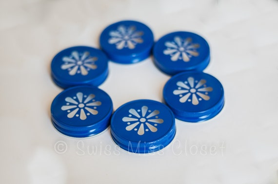 SALE!! Set of 24 Royal Blue Color Daisy Mason Jar Lids DIY Wedding, Party Decor