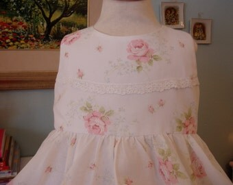 Shabby Chic White w/ Pink Roses Print Dress with Hankie Hem