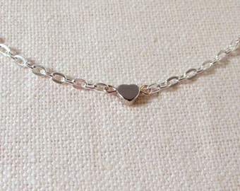 Silver Heart Bracelet, Cute Dainty Bracelet, Modern Simple Jewelry