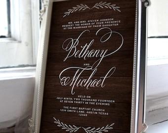 Printable Wedding Invitation Suite Wood Grain Invite Vintage Style Rustic