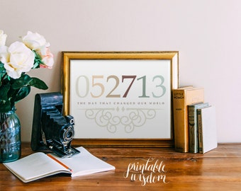 Important Date art Printable wall art decor poster, print personalized custom birthdate nursery art decor decoration anniversary - digital