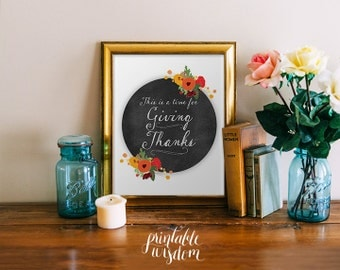 Fall wall art print decor autumn decoration thanksgiving printable chalkboard floral typography poster art print home decor INSTANT DOWNLOAD