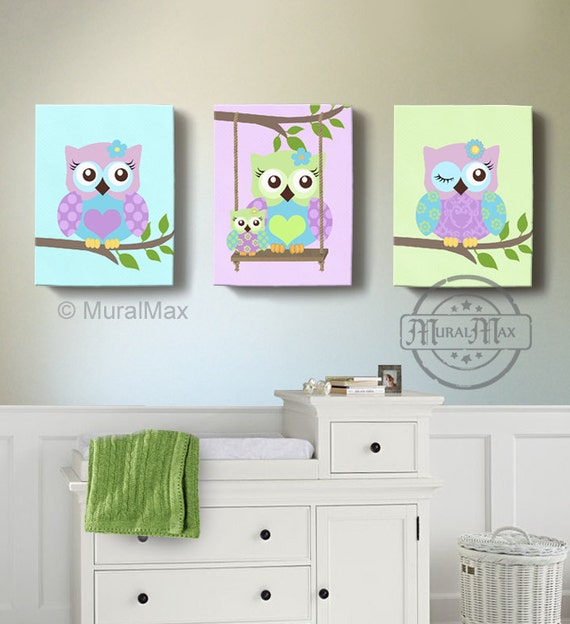 Green And Purple Owl Nursery Girl Room Decor OWL Canvas Art