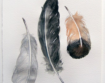 Neutral feathers painted by watercolors. Art painting original. Grey, black feathers painting. Watercolor feathers.Home decor. Kitchen decor