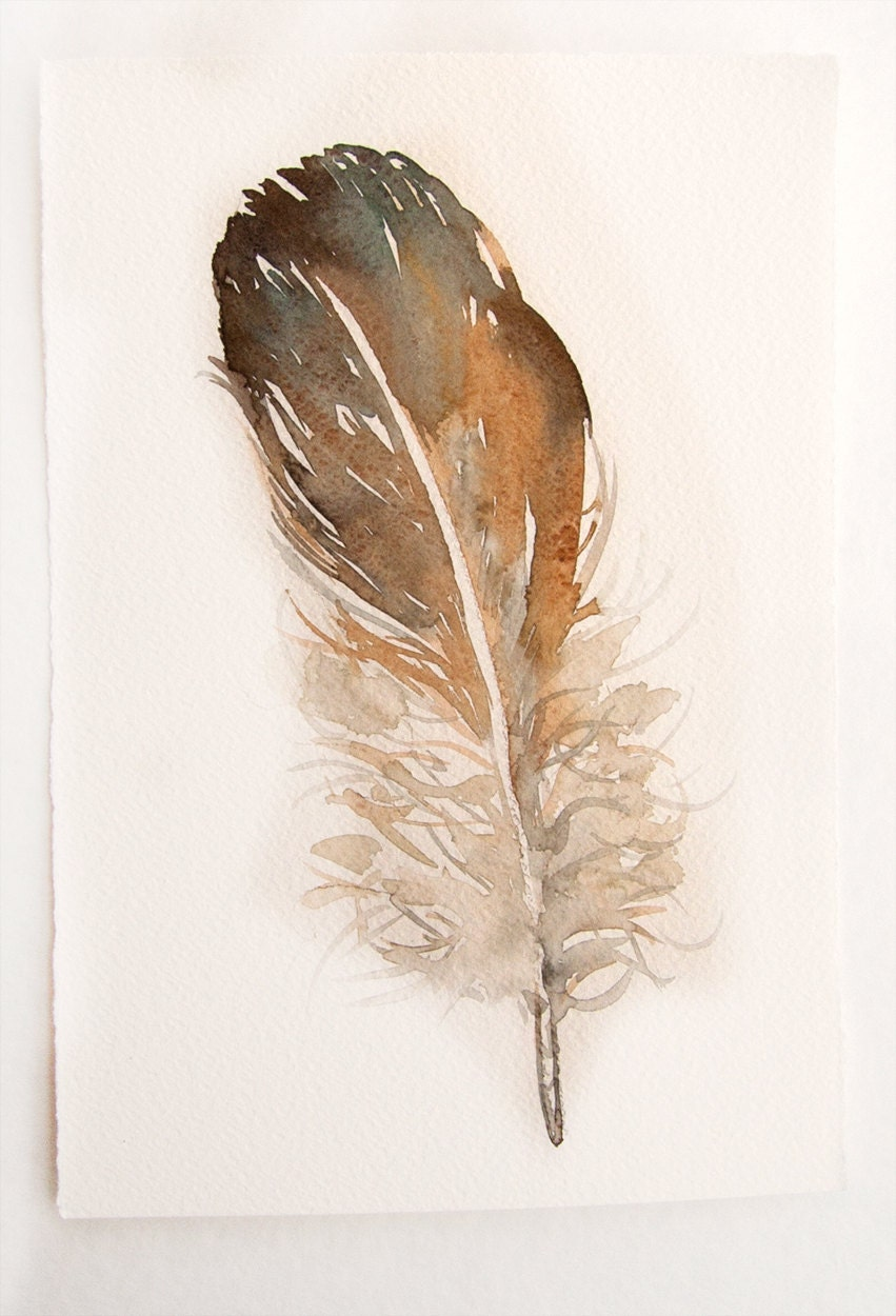 Feather painting original watercolor art original greybeige for Painting feathers on canvas