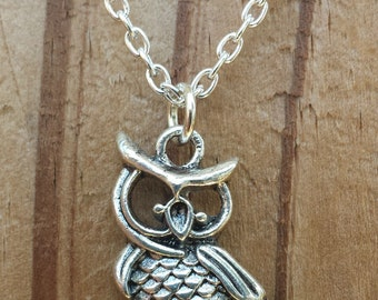 Owl Necklace - Silver Owl on Branch Charm