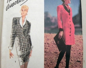 1990s Power Suit or Dress sewing pattern. Simplicity 7501  Size 10-12-14 Bust 32.5-34-36 UNCUT FF