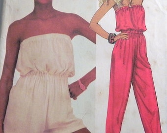 """1980s Jumpsuit or Playsuit sewing pattern Beach coverup McCalls 2030 Size 6-8-10 Bust 30.5-31.5-32.5"""" UNCUT FF"""