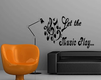 Wall Quotes Let the Music Play Removable Wall Sticker Studio Wall Decal Quote Wall Art (X82)