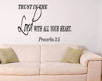Trust In The Lord With All Your Heart Christian Quote Wall Decal Sticker Art (X12)