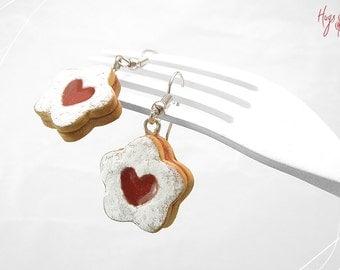 Jam Cookie Earrings, Flower Cookie Jewelry, Polymer Clay Food, Miniature Food Jewelry, Valentines Day gift, Biscuit Earrings, Foodie gift