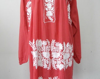 Mexican Embroidered Dress Long Sleeves Tunic In Red, Boho Dress Bohemian Style