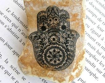 Hamsa,Jerusalem stone,Khamsa,Judaica, Israel stone,Stone of Israel, Israel gift ,Hand,bar mitzvah, personalized stone, rock,