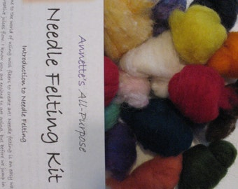 Beginner Needle Felting Kit Starter Basic Intro 22 colors Wool and Instructions