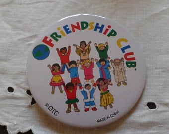 80s Friendship Club large pin back metal button badge It's a Small World 90s Friendship Club pinback backpack button badge Halloween
