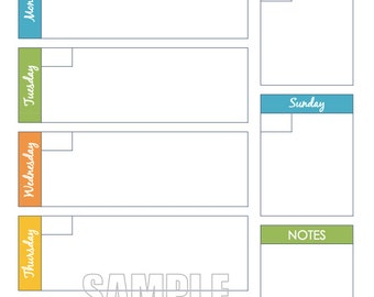 Weekly Planner Printable  - Editable Organizing Planner, Week at a Glance,  Day Planner, Instant Download