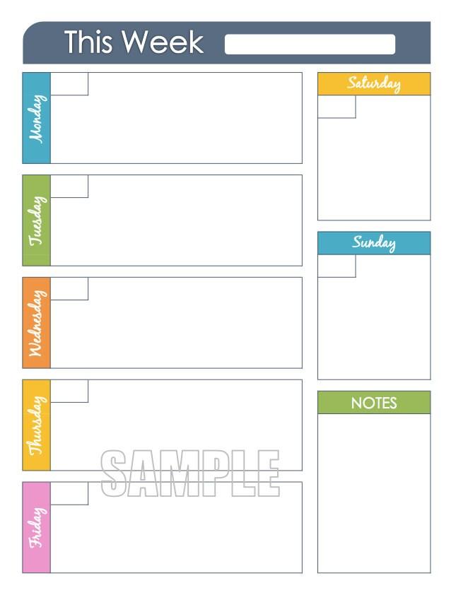 Weekly Planner Printable Editable Organizing Planner Week - 645x842 ...