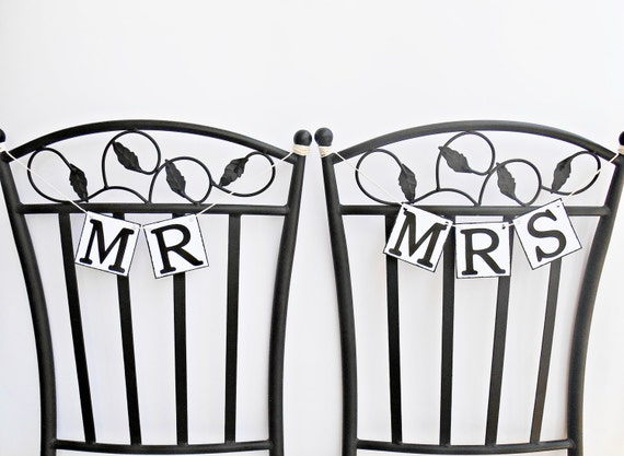 FREE SHIPPING, Mr & Mrs chair signs, Wedding Banners, Bridal shower banner, Engagement party decoration, Photo prop, Bachelorette party