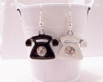 Telephone metal earrings - telephone earrings - retro jewelry - metal telephone charms  - retro telephone charm earrings - mini charms
