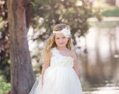 Flower Girl Dress - Ivory Tutu Dress - Ivory Flower Girl Dress - Tutu Flower Girl Dress -Girls Ivory Wedding dress