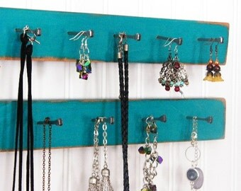 "Necklace Hanger..19"" Long.. 2-Tiers 13 Pegs..Jewelry Organizer..Bathroom Organizer..Dorm Organizer..Choose Your Color. Unique Gift Idea!"