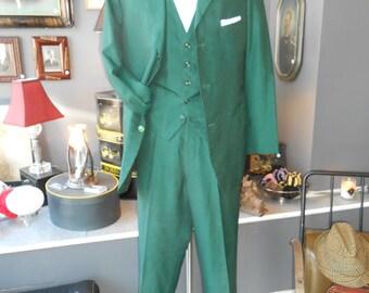 SAM TAILOR CO 40R 30x32 shantung sharkskin rockabilly vintage men's suit Kelly green 3 piece