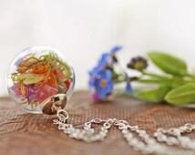 Irish wildflower necklace , real plant necklace , Sterling silver pendant , Irish jewellery , miniature terrarium ,  living locket #C16