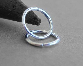 Two (2) 20 Gauge Sterling Silver Continuous Hoops, Endless Hoop Earrings, Silver Nose Rings, Choose the Diameter