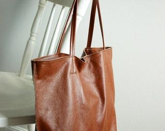 Brown Shopper Tote Bag Leather shopper bag
