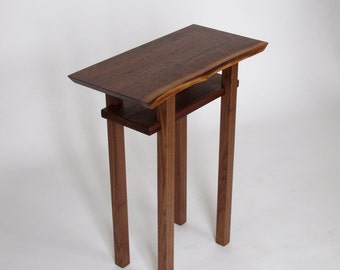 Live Edge Side /End Table: Small Accent Table/ Bed Side Table, Walnut or cherry wood slabs- Handmade Wood Furniture CLASSIC COLLECTION