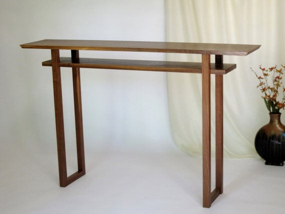 Handmade wood console vanity table narrow by mokuzaifurniture for Narrow console table modern