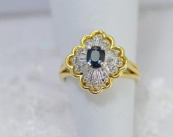 14k Mixed Gold Sapphire Diamond Ring