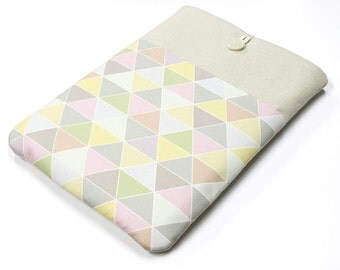 "Macbook Pro Retina 15"" Laptop Sleeve, Pastel triangles, Geometry, Macbook Air case, Macbook cover, Padded laptop case, laptop cover"
