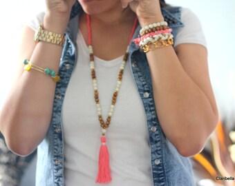 N654 - Long Tassel Necklace -  Wood beads, Coral Tassel - Long Beaded Tassel Necklace - Boho Jewelry - Claribella