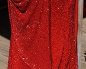Ballroom Latin Dance Dress, Costume, Red, Beaded, Size Large, Silk, Salsa, Mini Dress, Upcycled Evening Gown