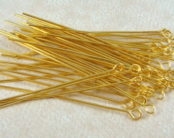 "Eye Pins, Gold Eye Pins - 2"" Brass EyePins - Golden Eye Pins - 5.0cmx0.7mm (ep5.0m-G) - Select Qty. from Options"