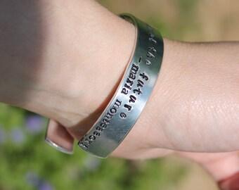Maria Montessori quote aluminum hand stamped bracelet, Teacher gift, Teacher jewelry