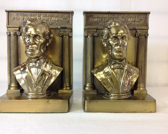 Bradley and Hubbard President Lincoln Bookends