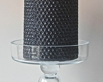 Rolled Honeycomb Glittered Beeswax Pillar, Black Diamond
